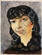 """MOISE KISLING (1891-1953)  Portrait de Josane, 1946 Huile sur toile Signée, située """"Sanary"""" et datée en bas à gauche 35,5 x 27 cm - ..."""