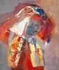 ƒ Raymond KANELBA (1897-1960) Femme qui danse Huile sur toile Signée en bas vers la gauche 77 x 64 cm - 30 5/16 x 25 3/16 in.