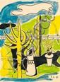 Fernand Léger (1881-1955)  Composition au jardinet, 1949 Gouache sur papier Signée des initiales et datée en bas à droite 32 x 23 cm...