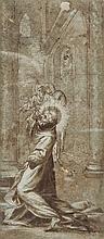 Attribué à Ludovico CARRACCI (Bologne 1555-1619) Saint François en extase Plume et encre brune, lavis brun et rehauts de gouache bla...
