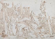 école de Luca CAMBIASO (Moneglia 1527- Madrid 1585) Crucifixion Plume et encre brune, lavis brun sur traits de crayon noir 26 x 36,5...