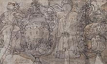 école italienne du XVIe siècle, d'après POLIDORE (Caravaggio 1495-Messine 1543) Feuille d'étude avec vases, costumes et personnages ...
