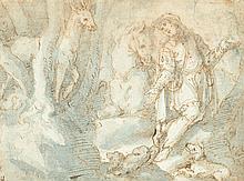 Giovanni Battista della ROVERE dit Il Fiammenghino (Milan 1561-après 1627) Saint Hubert Plume et encre brune, lavis gris-bleu 17,5 x...