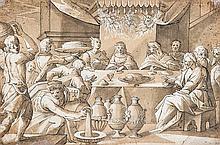 école allemande du XVIIe siècle Noces de Cana Plume et encre noire sur traits de crayon noir rehauts de gouache blanche 20,5 x 31cm ...