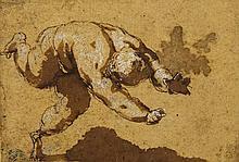 école italienne du XVIe siècle Étude de figure Encre brune, lavis brun et rehauts de gouache blanche 5 x 7,5cm Sur son montage ancien