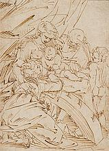 Luca CAMBIASO (Moneglia 1527 – Madrid 1585) Mariage mystique de sainte Catherine Plume et encre brune 38,5 x 28cm Accidents restauré...