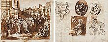 École italienne du XVIIe siècle Feuille d'étude recto-verso: rencontre de Jacob et Laban; diverses études d'allégorie de la sculptur...