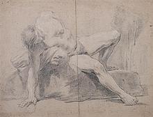 Attribué à Giovanni Battista BEINASCHI (Fossano 163-Naples 1688) Feuille d'étude recto-verso: étude de personnages Crayon noir et re...