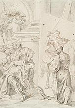École vénitienne du XVIIIe siècle Charles Quint ramassant le pinceau de Titien: