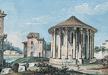 École italienne vers 1800 Vue du temple de Vesta Gouache 9 x 13cm Usures