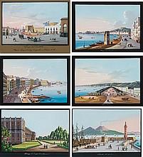 École napolitaine du XIXe siècle Album comprenant vingt-six gouaches et aquarelles de Naples et ses environs, deux aquarelles sur tr...