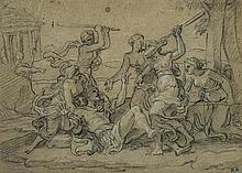 François VERDIER (Paris 1651 – 1730) La mort de Penthée Crayon noir et rehauts de craie blanche 21 x 29,5cm Cachet de collection en ...