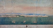 École française du XVIIIe siècle Vue de l'entrée du grand port de Malte; vue nord ouest de la Valette Aquarelle et gouache peut être...