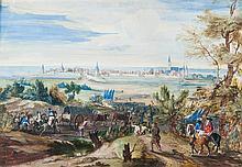 École française du XVIIIe siècle, entourage de Van der Meulen (Bruxelles 1632–Paris 1690) Le siège de Dixmude Gouache sur traits de ...