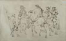 Adam FRANS van der MEULEN (Bruxelles 1632-Paris 1690) Étude pour la tapisserie de la prise de Dôle; Louis XIV, le Prince de Condé, l...