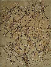 Attribué à Louis-Félix de LA RUE (Paris 1720-1765) Étude de putti Plume et encre brune, lavis brun 20 x 15,5cm Légèrement insolé