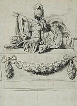 École française du XVIIIe Étude de trophées romains Crayon noir et lavis gris 21,5 x 15,5cm Rousseurs et pliures
