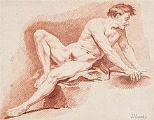Jean-Jacques LAGRENEE (Paris 1739-1821) Académie d'homme Sanguine 38 x 49 cm Annoté en bas à droite