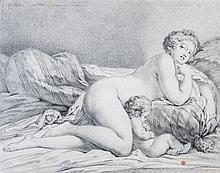 Attribué à Jacques CHARLIER (Paris 1720-1790) Femme et enfant sur un divan Crayon noir et estompe 18,5 x 23cm Petites taches