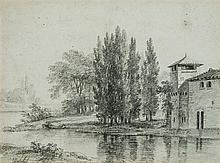 Claude Henri WATELET (Paris 1718-1786) Paysage Crayon noir et estompes 23 x 31cm Signé en bas à gauche Piqûres