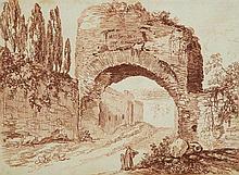 École française du XVIIIe siècle Paysage d'Italie Sanguine 27,5 x 37,5cm
