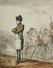 Horace VERNET (Paris 1789-1863) Portrait de Napoléon en pied regardant une bataille, en arrière-plan un mamelouk tenant son cheval A...