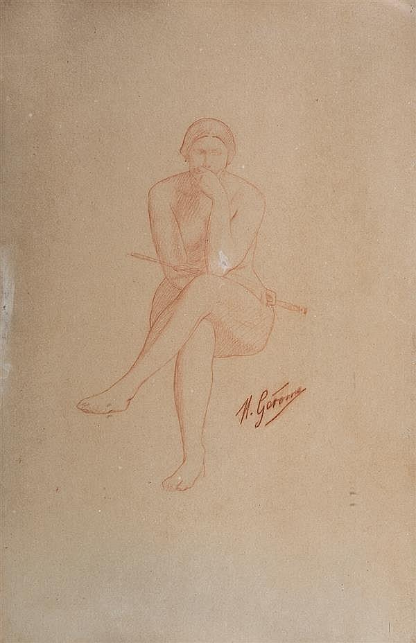 Attribué à Jean Léon Gérome (1824-1904) Étude de femme assise Sanguine 34 x 22 cm Annoté en bas à droite