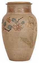 Ernest CHAPLET (1835-1909) & HAVILAND et Cie Vase balustre en grès brun, ouverture à ressauts, décor incisé de branches en fleurs al...