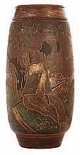 ERNEST CHAPLET (1835-1909) & & HAVILAND & Cie Grand vase ovoïde en grès, à décor incisé d'une frise principale animée d'un paysan à ...