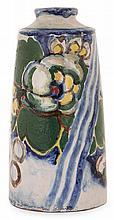 André METHEY (1871-1921) Vase tronconique en faïence, à épaulement marqué et col ourlé, à décor floral compartimenté animé de bandea...