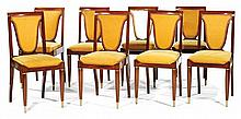 Christian KRASS (1868-1957) A set of eight  neo classical chairs, the back is shaped as a lyre, mahogany, yellow velvet upholstery, not