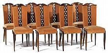 Christian KRASS (1868-1957) Suite de huit chaises néo-classiques à structure en noyer, piètement sabre, assise écusson à chassis mob...