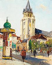 EMILE LESAOUT (1926-?) ÉGLISE SAINT GERMAIN DES PRÉS Oil on canvas