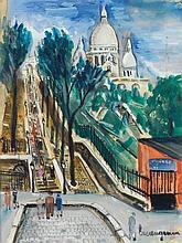 LUCIEN GENIN (1894-1953) Vue de Montmartre Gouache on paper