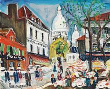 LUCIEN GENIN (1894-1953) Place du Tertre Gouache on paper