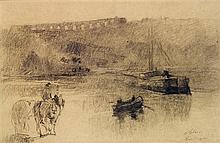 ALBERT LEBOURG (1849-1928) La Seine à Bougival Charcoal on paper