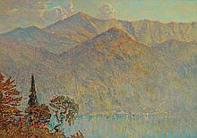 José Mingret (1880-1969) Lac de Côme Gouache on cardboard