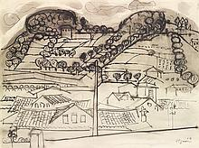 Edouard Pignon (1905-1993) Village du Sud Ink and ink wash on paper