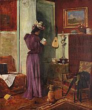 Clovis Francois Auguste Didier (1858) Femme dans un intérieur Oil on canvas