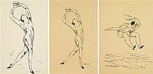 André Dunoyer de Segonzac (1884-1974) Ensemble de 3 dessins sur les athlètes Ink on paper