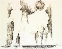 Iba N'Diaye (1928-2008) Deux dessins, personnages Ink on paper