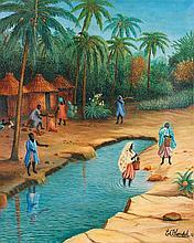 Emile Blondel (1893-1970) Femmes africaines à la rivière, 1951