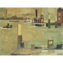 Jean Cluseau-Lanauve (1914) Au port Oil on canvas