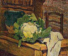 René Auguste Seyssaud ( 1867 - 1952) Nature morte au chou fleur Oil on canvas