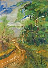 Luiggi Spazzapan (1889-1958) Parco del Valentino Watercolor and gouache on paper laid on canvas