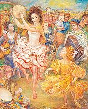 Lucien Philippe MORETTI (1922-2000) La petite gitane à la robe jaune Oil on canvas