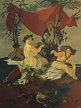 Lucien Joseph Fontanarosa (1912-1975) Scène de chasse, 1948 Oil on canvas pasted on panel