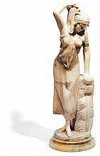 PARENT (XIXe-XXe siècle) PORTEUSE D'EAU ÉGYPTIENNE Épreuve en albâtre inscrite sur la terrasse