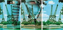 Jiri Kolar (1914-2002) TOUR EIFFEL, 1998 Ensemble de trois photomontages Signés au dos de chaque Set of three photomontages Signed o...