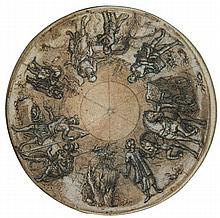École florentine vers 1600 Drawings Projet de plafond sur la conversion de l'eunuque par saint Philippe Plume et encre brune sur tra...